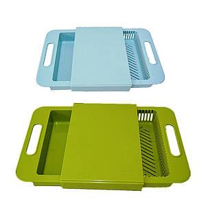 Разделочная доска на мойку для кухни, доска для мытья и шинковки овощей 37х24х5 см Supretto 179854