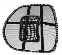 Упор поясничный для спины на стул UFT массажная корректирующая подставка-подушка Чёрная