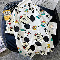 Свободная летняя женская футболка с рисунком Микки Мауса 77mfu334, фото 1