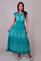 Платье  летнее, женское макси с вышивкой. Хлопок прошва. Индия. Бирюза 50-52 р.(L р), фото 1