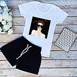Женский прогулочный костюм майка футболка + шорты батал, фото 7