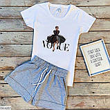 Женский прогулочный костюм майка футболка + шорты батал, фото 8