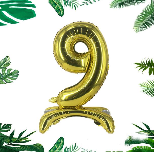 """Трёхмерный золотой шар цифра """"9"""", 80 см в упаковке"""
