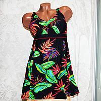 54 размер! Черный женский купальник-платье (танкини) с цветными листьями папоротника, на завязках, трусы слипы