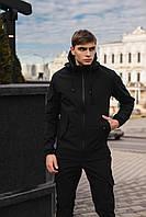 Мужской костюм Softshell черный демисезонный Intruder. Куртка мужская, штаны утепленные Ключница в подарок