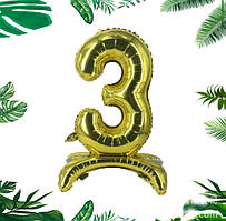 """Трёхмерный золотой шар цифра """"3"""", 80 см в упаковке"""