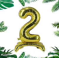 """Трёхмерный золотой шар цифра """"2"""", 80 см в упаковке"""