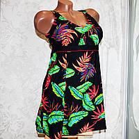 Большой 58 размер! Черный женский купальник-платье для пышных красавиц, на завязках, трусы слипы, мягкая чашка