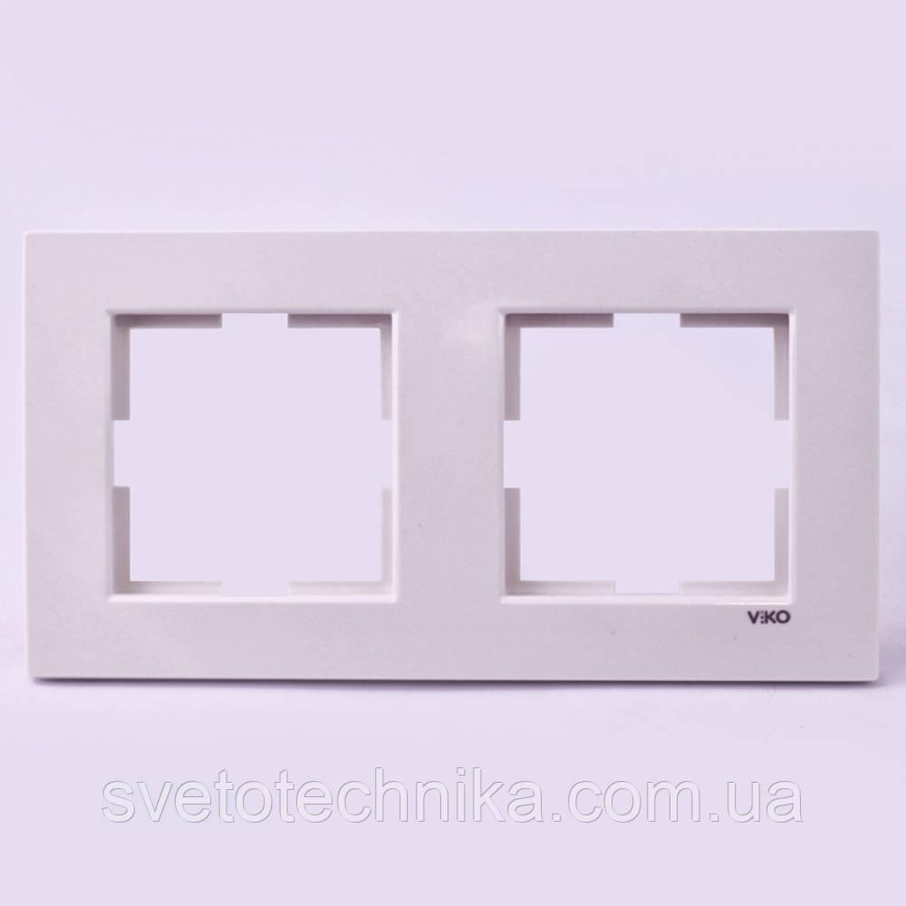 Рамка  двойная горизонтальная VI-KO  Karre кремового цвета
