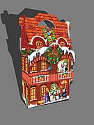 Упаковка праздничная новогодняя из картона Дворец с балконом на вес до 1500г, от 1 штуки