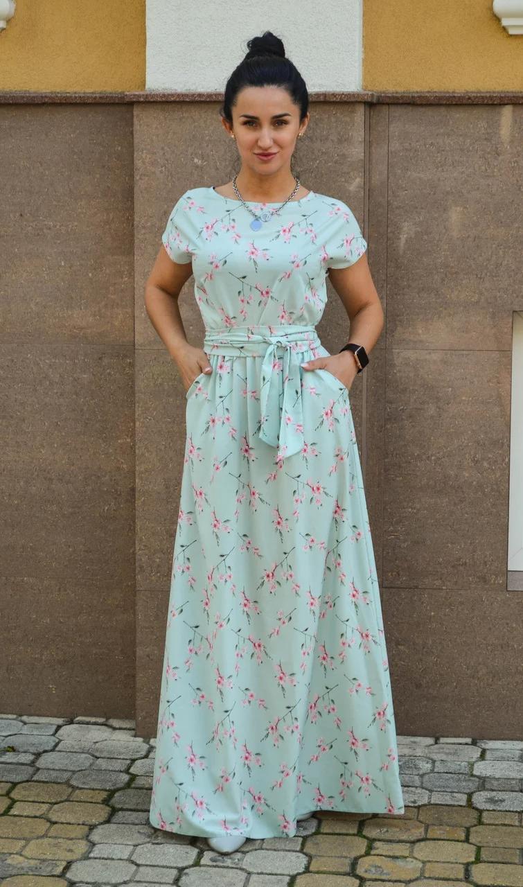 Платье женское до пола с внутренними карманами с летней ткани - софт