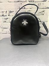 Маленький универсальный рюкзак из натуральной кожи Черный