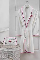 Soft cotton халат LILY S  Beyaz-Fusya-Biyeli  M 46-48