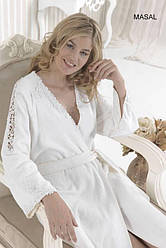 Soft cotton халат MASAL M Beyaz белый S 44-46, Абрикосовый