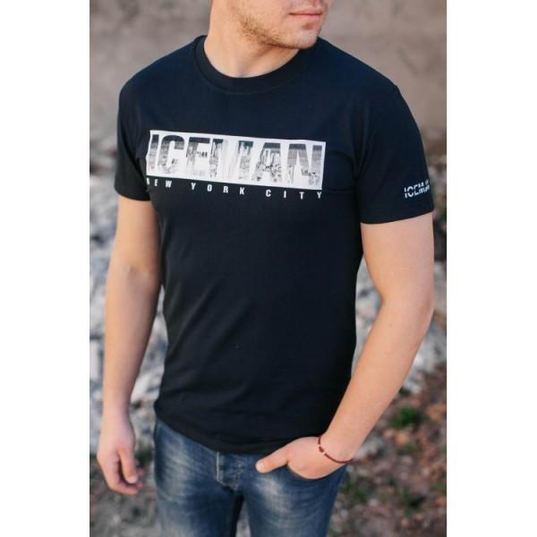 Красивая черная футболка Ice Man - №6071