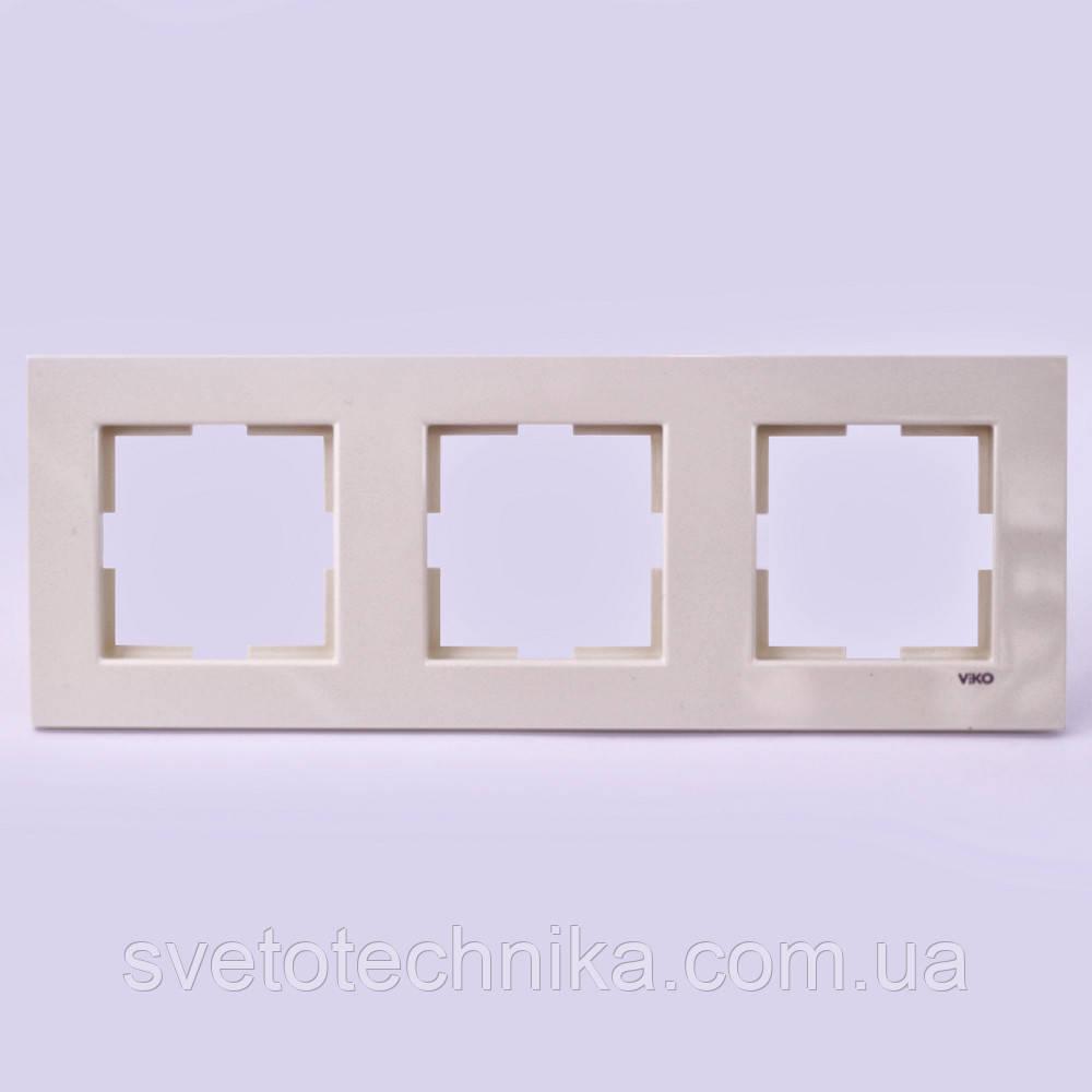 Тройная рамка VI-KO Karre горизонтальная скрытой установки (белая)