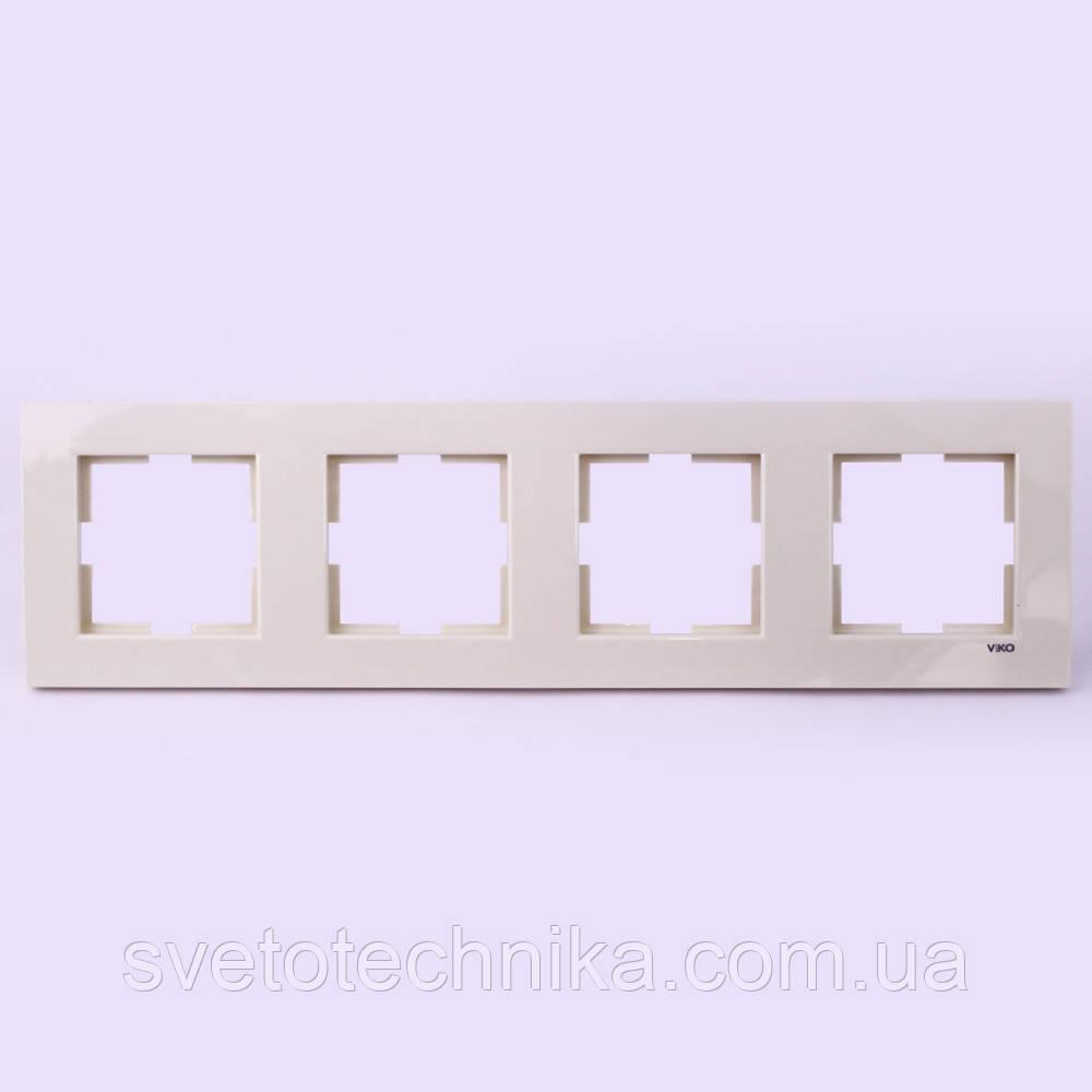 Рамка четверенная горизонтальная VI-KO Karre  скрытой установки (кремовая)