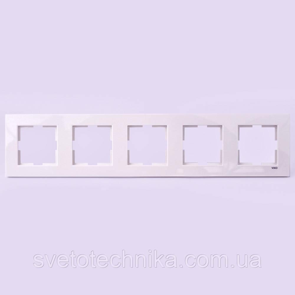 Рамка пятерная горизонтальная VI-KO Karre скрытой установки (белая)