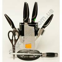 11671 (Набор хороших ножей на подставке стал 4 ножа разных размеров +тапор+ножницы+муссат)