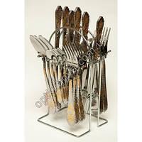 12202 ( Набор столовых приборов на подставке (ложка, вилка, чайная ложна, нож по 6 шт.))