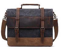 Сумка-портфель текстильная Vintage 20060 Темно-серая, фото 1