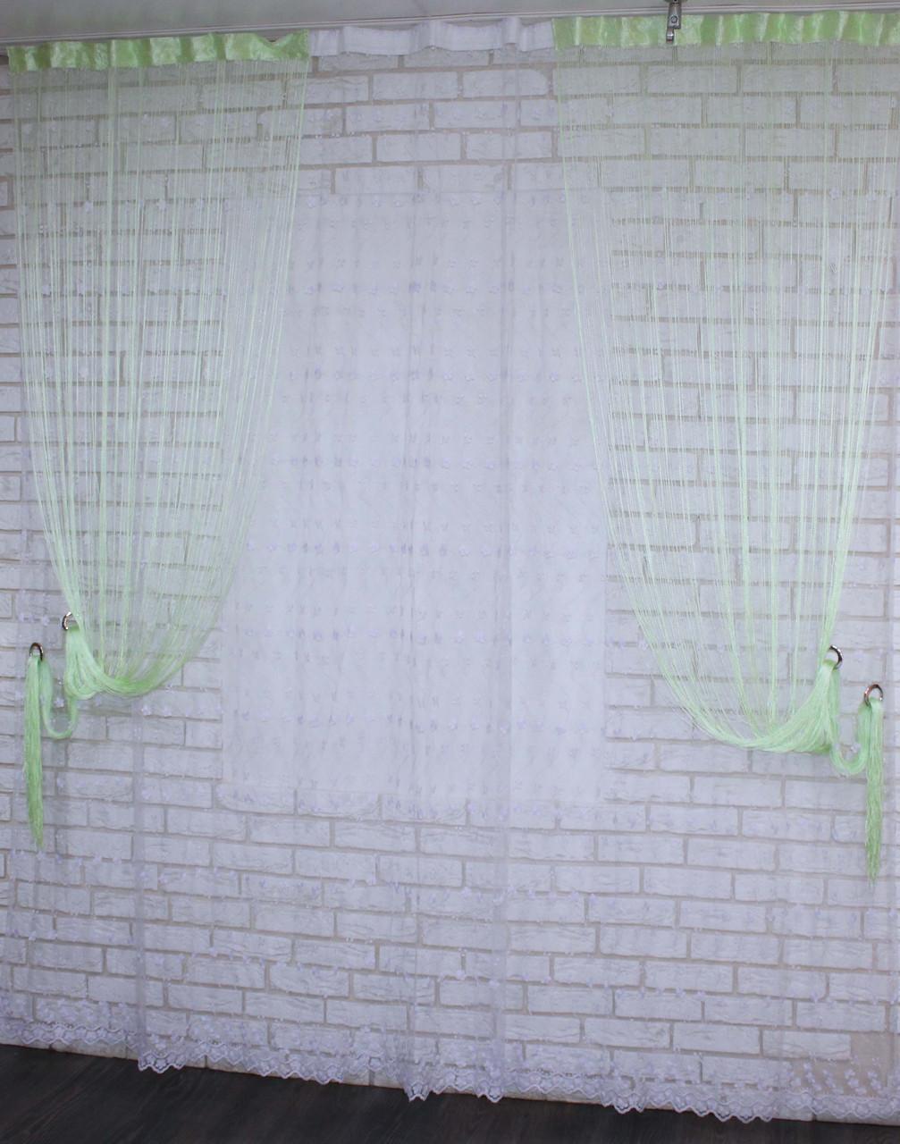 """Декоративний комплект комбінація зі шторами-нитками """"Серпанок"""" 3,м*2,5 м. Код 029дк (109-033) е809"""