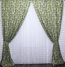 """Комплект готових штор з тканини льон """"гілка""""Код 423ш"""
