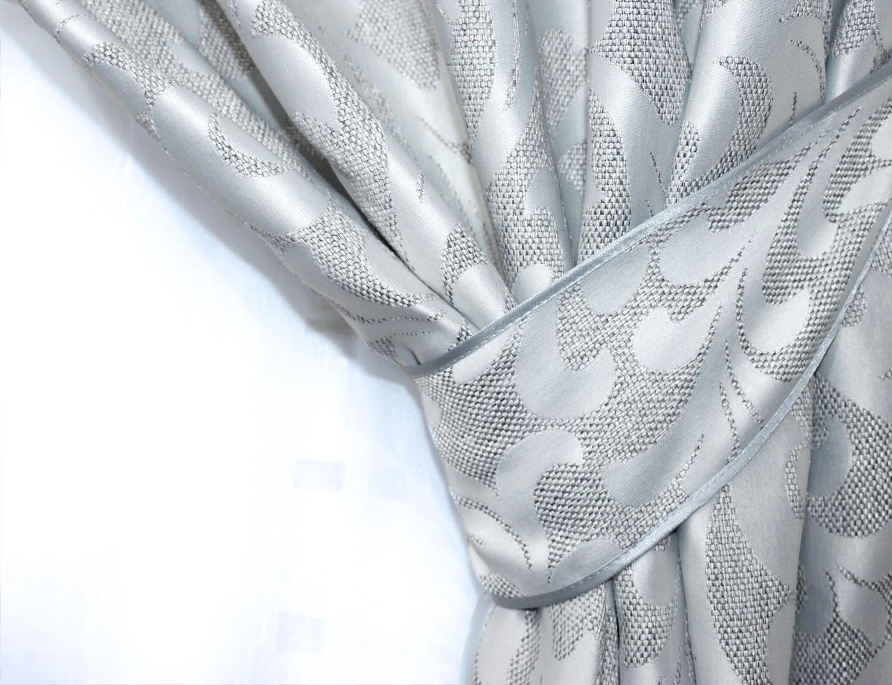 "Ткань лен ""Вензель"".Высота 2.8м. Цвет светло-серый. 534ш."