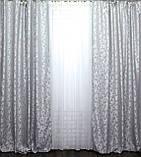 """Ткань лен """"Вензель"""".Высота 2.8м. Цвет светло-серый. 534ш., фото 3"""