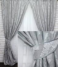 Шторы блекаут лен рогожка серый 546-19