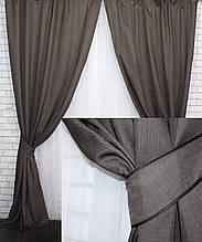 Комплект штор, портьерный лен на велюровой основе темно-коричневый, 554-19