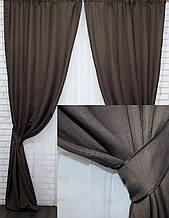 Комплект штор портьерный лен на велюровой основе венге, 555-19