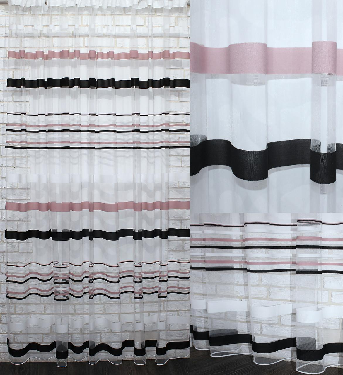 Тюль фатин полоса,(3х2,5) цвет пудра и чорный. Код 522т 40-179
