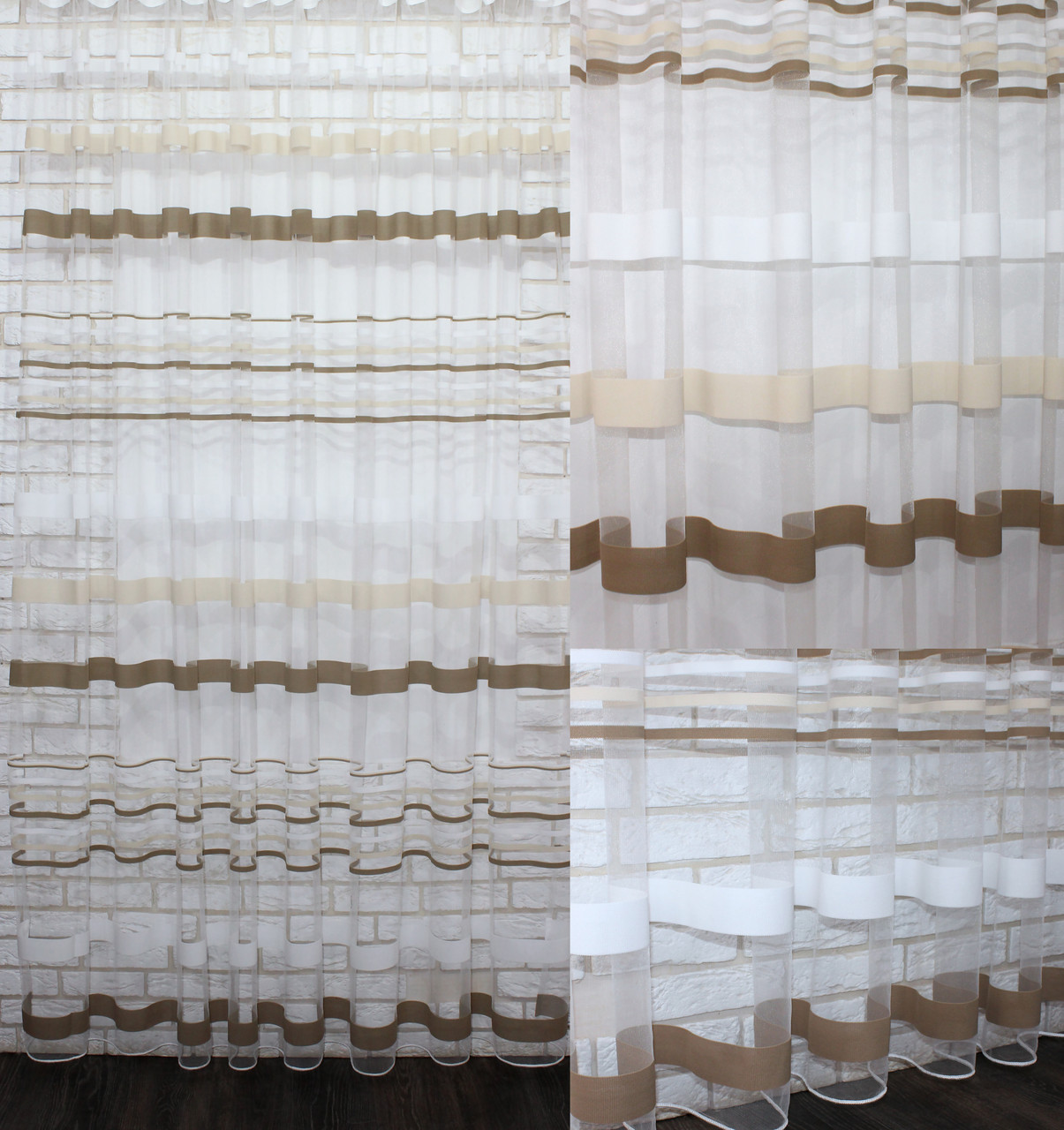 Тюль фатин полоса,(3х2,5) цвет хаки. Код 524т 40-180