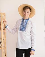 Підліткова вишиванка для хлопчика Орнамент синій