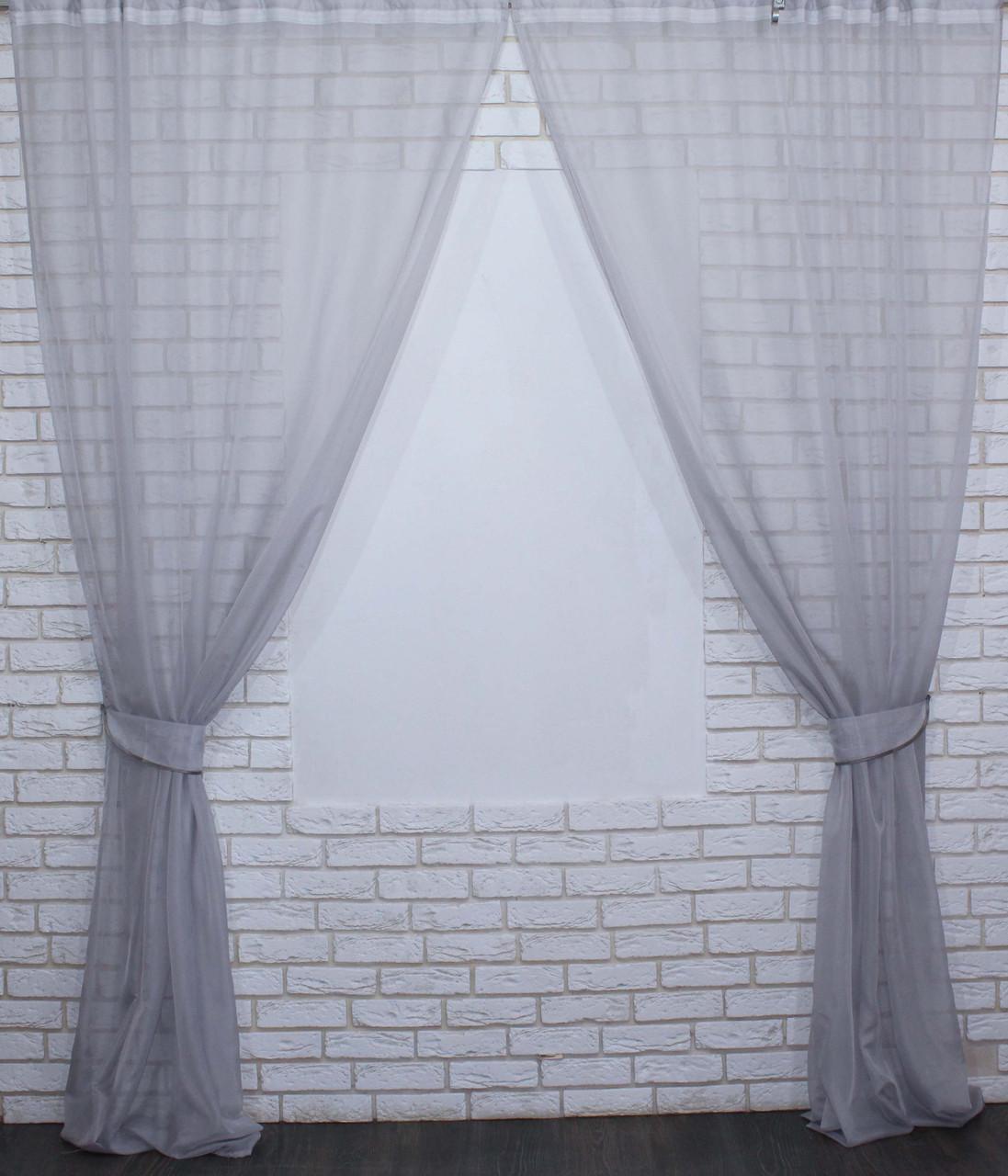 Комплект декоративных штор из шифона серый