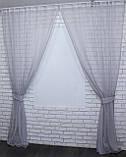 Комплект декоративных штор из шифона серый, фото 3