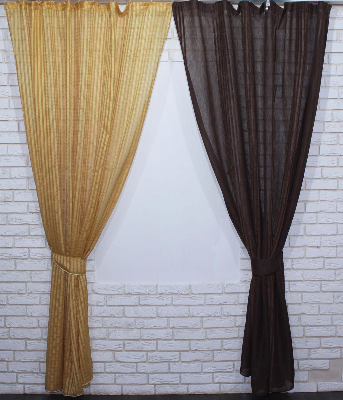 Комплект декоративних штор з льону, колір золотистий з шоколадним. 006дк е817(323-326)