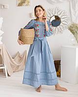 Жіноча блакитна лляна сукня Роксолана