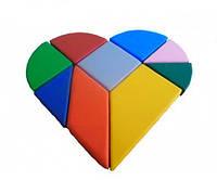 Детский напольный Коврик-Конструктор Танграм Сердце из 9 элементов для занятий с детьми от 3 лет 120х120х10 см
