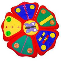 Детский напольный Дидактический коврик Цветочек для занятий с детьми от 1 года дома, в детских садах D=90 см