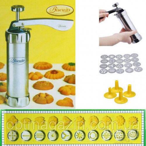 Кондитерский шприц пресс для печенья Biscuits, 20 насадок