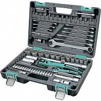 Набор инструментов 1/2  1/4  CrV  пластиковый кейс 82 предмета  двенадцатигранные головки Stels 14117