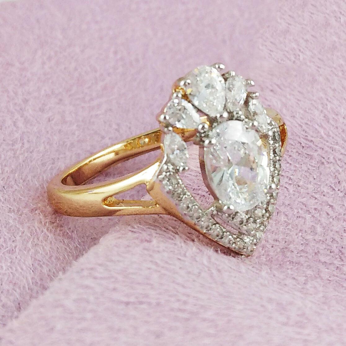 Кольцо Xuping Jewelry размер 19 Императрица медицинское золото позолота 18К + родий А/В 2-0170