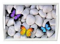 Поднос на подушке с ручками светлый Бабочки