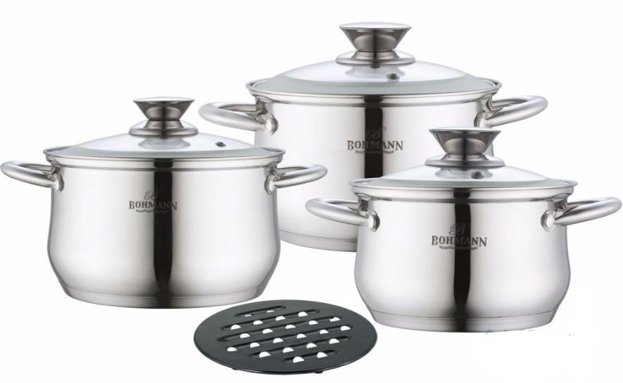 Набор кухонной посуды из нержавеющей стали 7 предметов Bohmann BH-0114