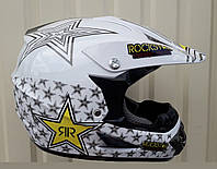 Кроссовый мото шлем белый  Рок Star Эндуро Pit Bicke белый размер S