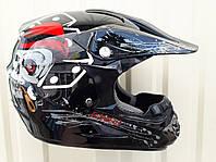 Кроссовый мото шлем Эндуро Pit Bike расцветка Блэк Джек размер S M L