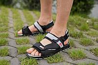 Мужские сандали кожаные летние черные-серые Splinter с 0520