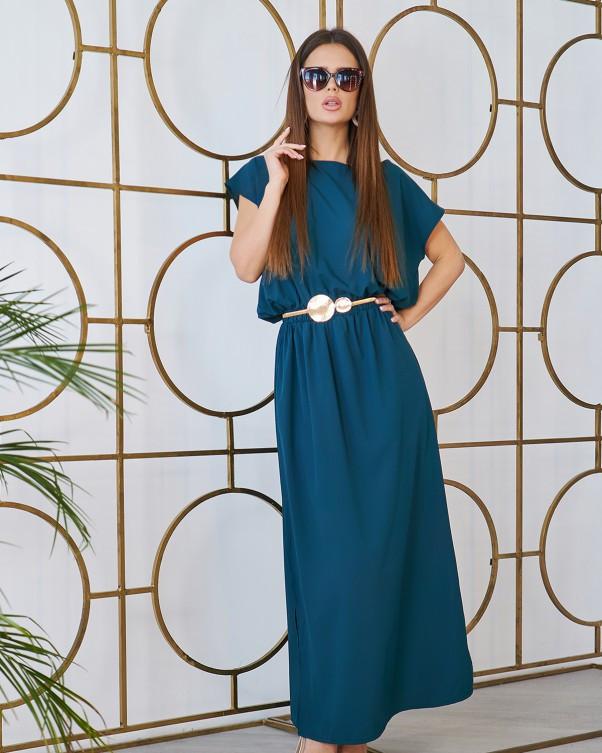 Зеленое длинное платье с декоративной спинкой